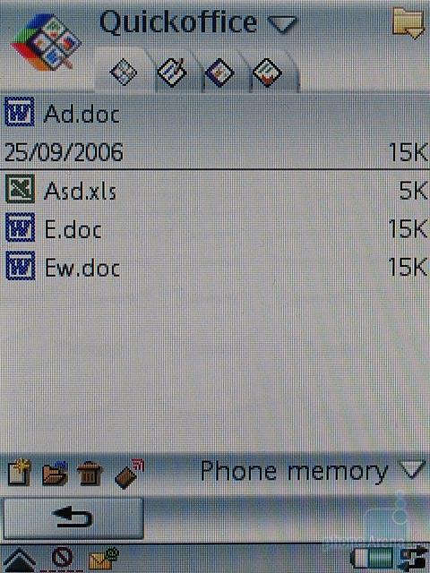 Sony Ericsson P990i - Quickoffice