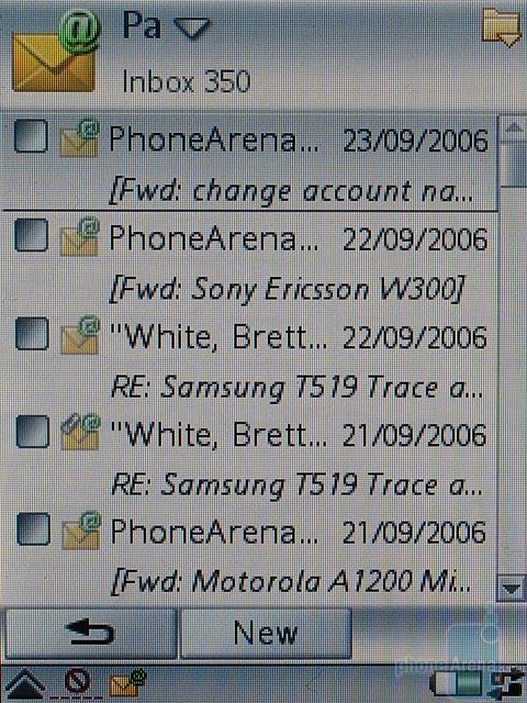 Sony Ericsson P990i - Входящие e-mail