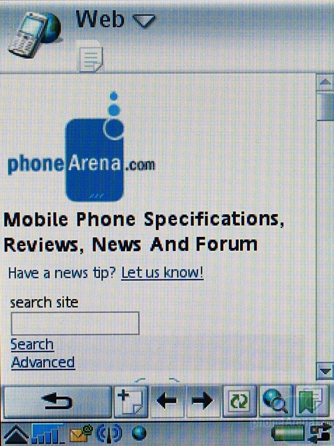 Sony Ericsson P990i - Браузер, фото с экрана 1