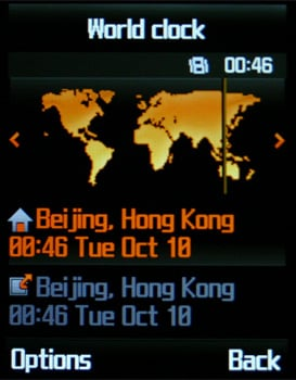 Samsung D830 - Мировое время