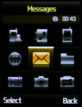 Samsung D830 - Главное меню с черной темой