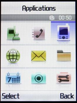 Samsung D830 - Главное меню с белой темой