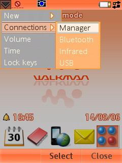 Sony Ericsson W950i - Всплывающее меню