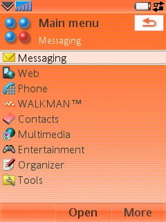 Sony Ericsson W950i - Меню в виде списка