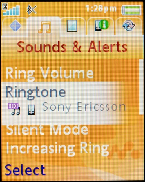 Sony Ericsson w710 - пример интерфейса, настройка звука