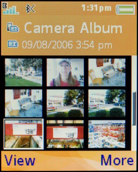 Sony Ericsson w710 - пример интерфейса, фотоальбом