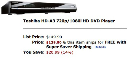 Toshiba HD-A3 720p 1080i HD DVD Player 0