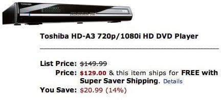 Toshiba HD-A3 720p 1080i HD DVD Player 0