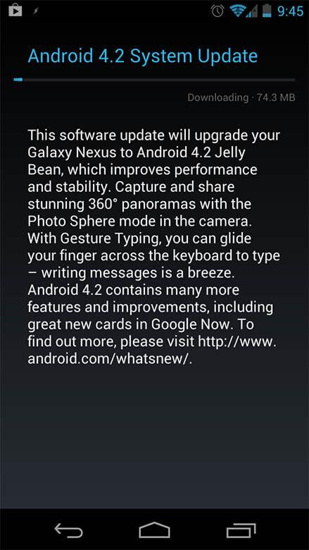 Galaxy Nexus получил 4.2 Jelly Bean