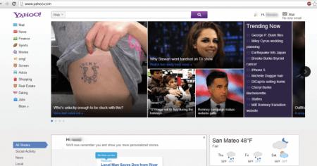 Домашняя страница Yahoo в стиле Metro