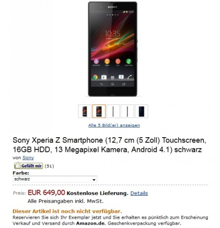 Цена Sony Xperia Z