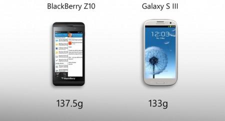 BlackBerry Z10 vs Galaxy S III - вес