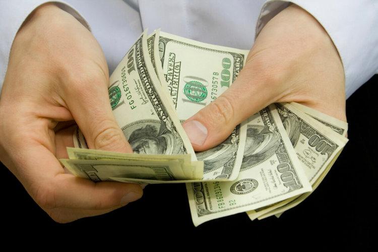 money in the hands