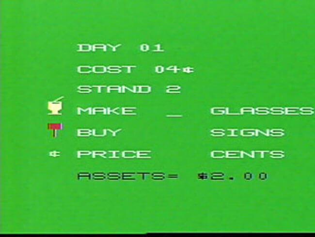 VideoBrain программа Lemonade Stand