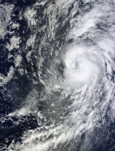Hurricane Humberto in the mid Atlantic Ocean