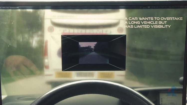 Система, показывающая сквозь впередиидущее транспортное средство