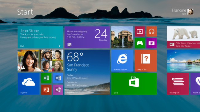 Windows 8.1 RT интерфейс Метро