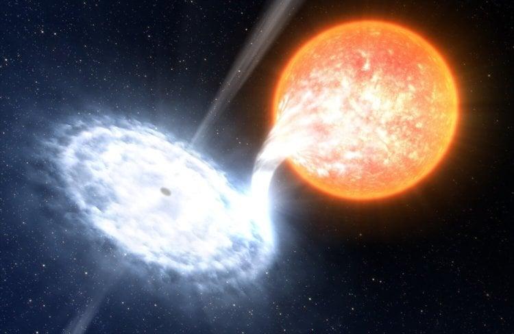 Черная дыра всасывает звезду