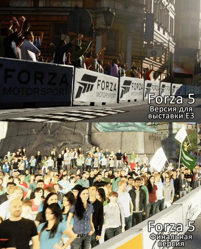 Forza 5 для улучшения производительности лишилась трёхмерных зрителей в пользу копипастных 2D-спрайтов