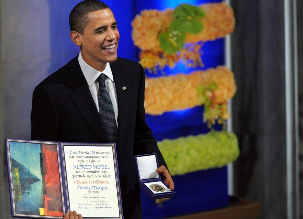 Барак Обама на церемонии вручения Нобелевской премии мира