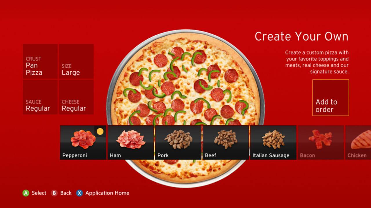 Приложение для заказа пиццы с Xbox 360