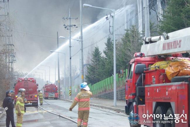 Пожар на заводе Samsung