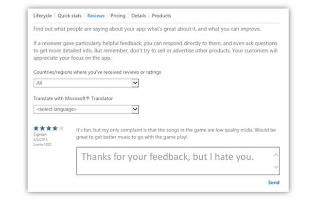 Microsoft позволила разработчикам комментировать пользовательские отзывы