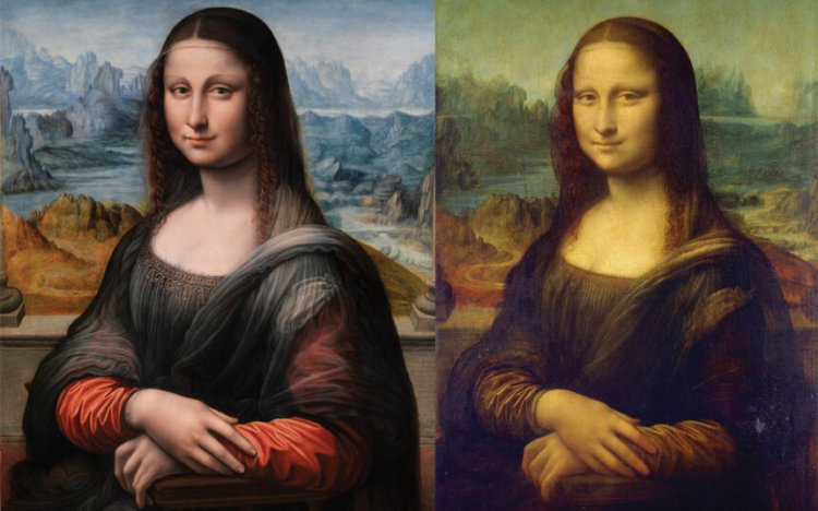 "Картины ""Мона Лиза"" из Прадо (слева) и Лувра (справа)"