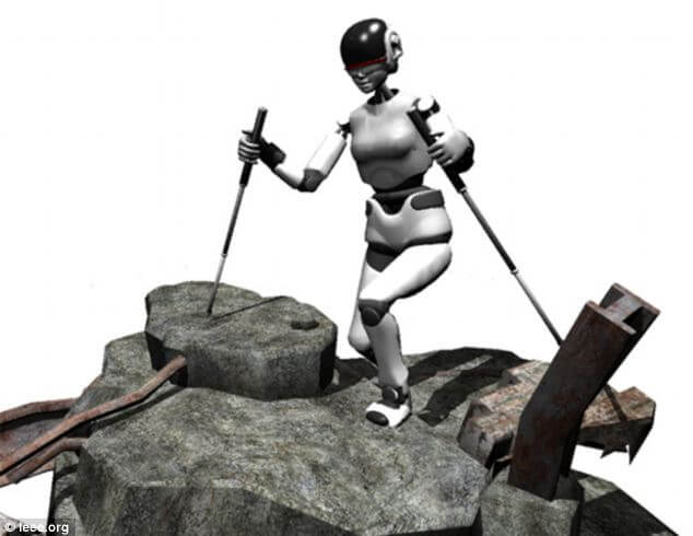 The robot uses two hiking poles