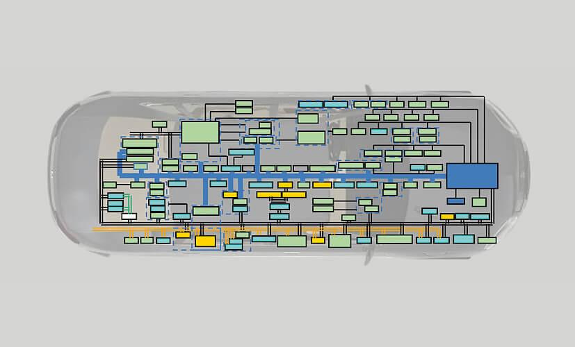 Так выглядит электронная схема современного электромобиля