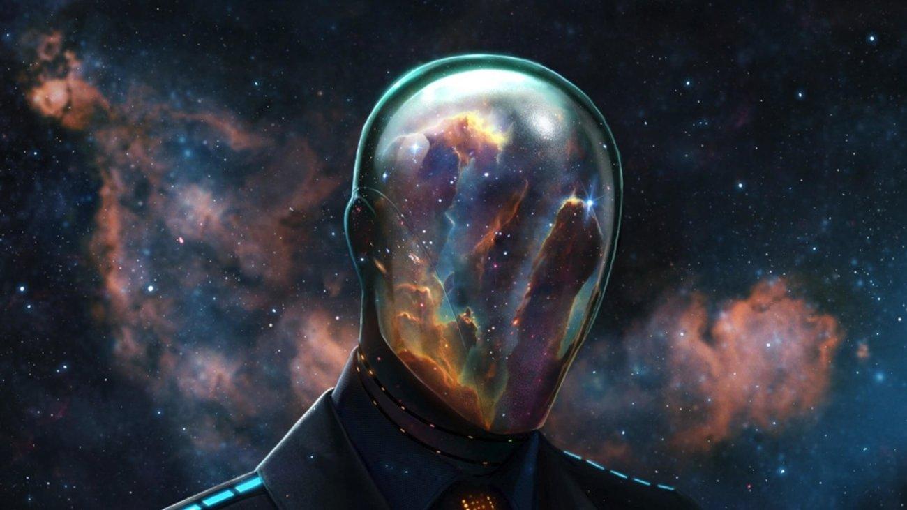 Фигура, космос, звезды, туманность, куб