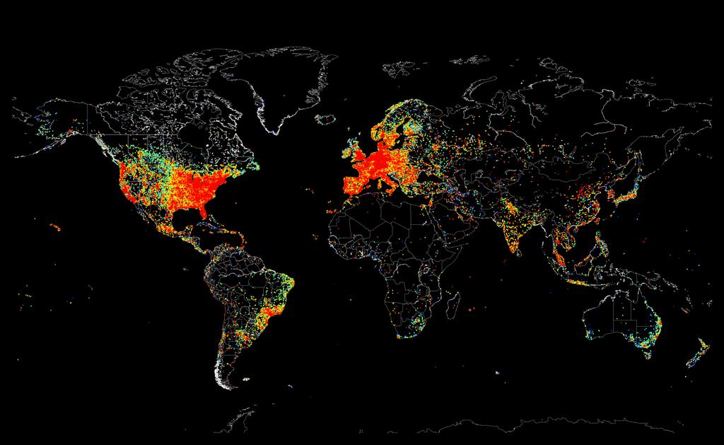 Как выглядят на карте мира все устройства, подключенные к интернету