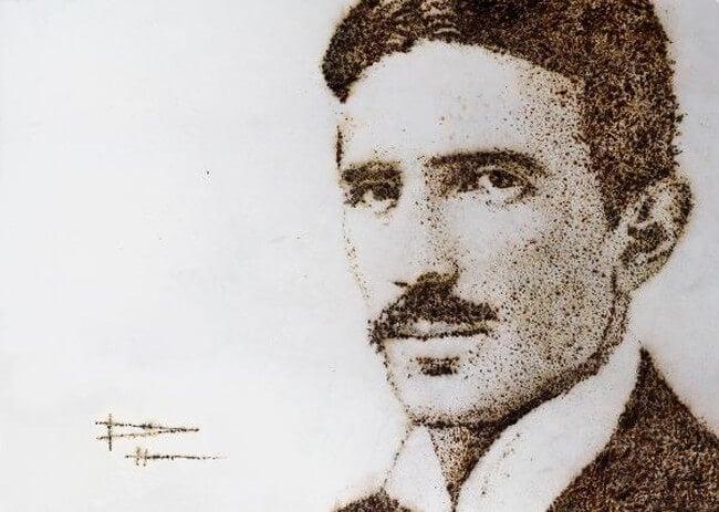 Портрет Николы Теслы, нарисованный с помощью электрических искр