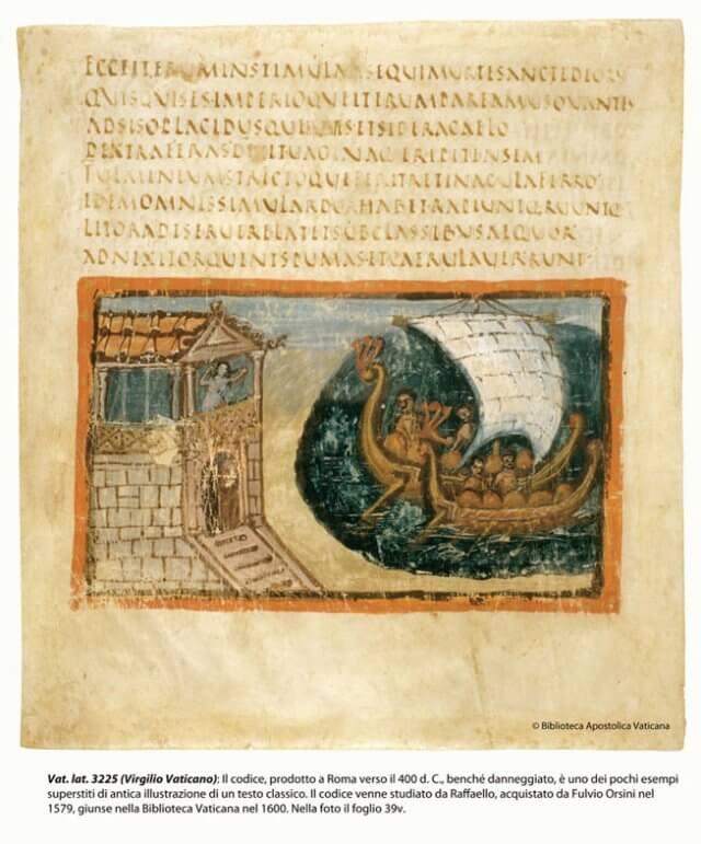 Ватиканская рукопись, составленная в Риме примерно в 400 году нашей эры, является одним из нескольких сохранившихся примеров древней иллюстрации классического текста. Кодекс, изучением которого занимался Рафаэль и впоследствии приобретенный Фульвио Орсини в 1579 году, стал достоянием Ватиканской библиотеки в 1600 году