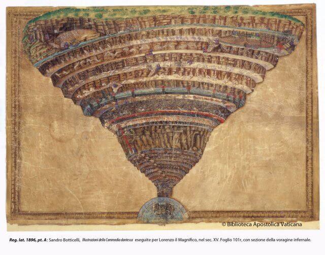 Иллюстрация Сандро Боттичелли к Божественной комедии по заказу Лоренцо Великолепного. Написана в XV веке