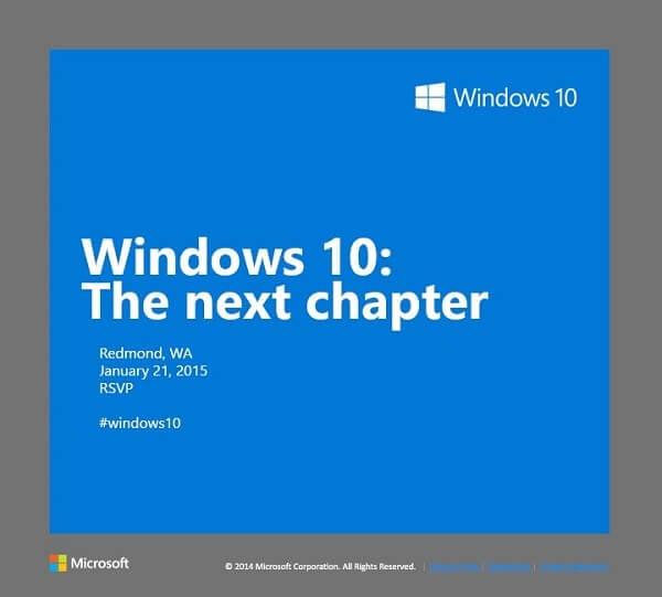 Приглашение на презентацию Windows 10