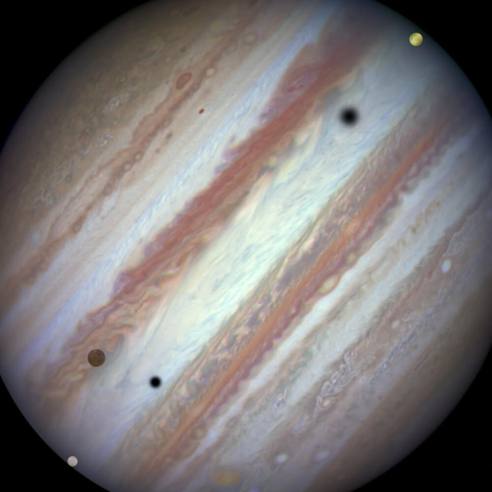 Тройное солнечное затмение на Юпитере