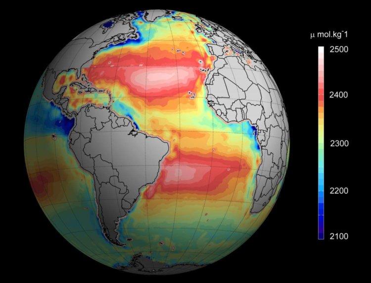 Общая щелочность океана - вид из космоса
