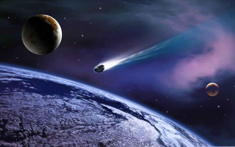 Обои огненный хвост, астероид, планеты. Космос foto 18