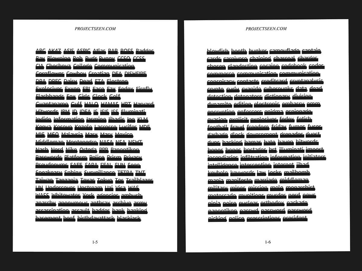 Шрифт, демонстрирующий, какие слова особенно волнуют спецслужбы США