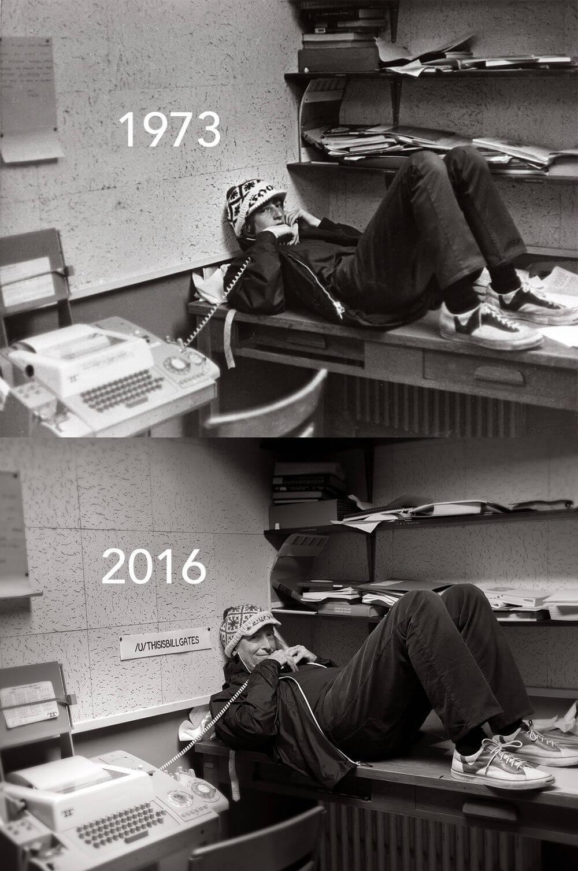 Билл Гейтс воссоздал свою школьную фотографию в настоящем