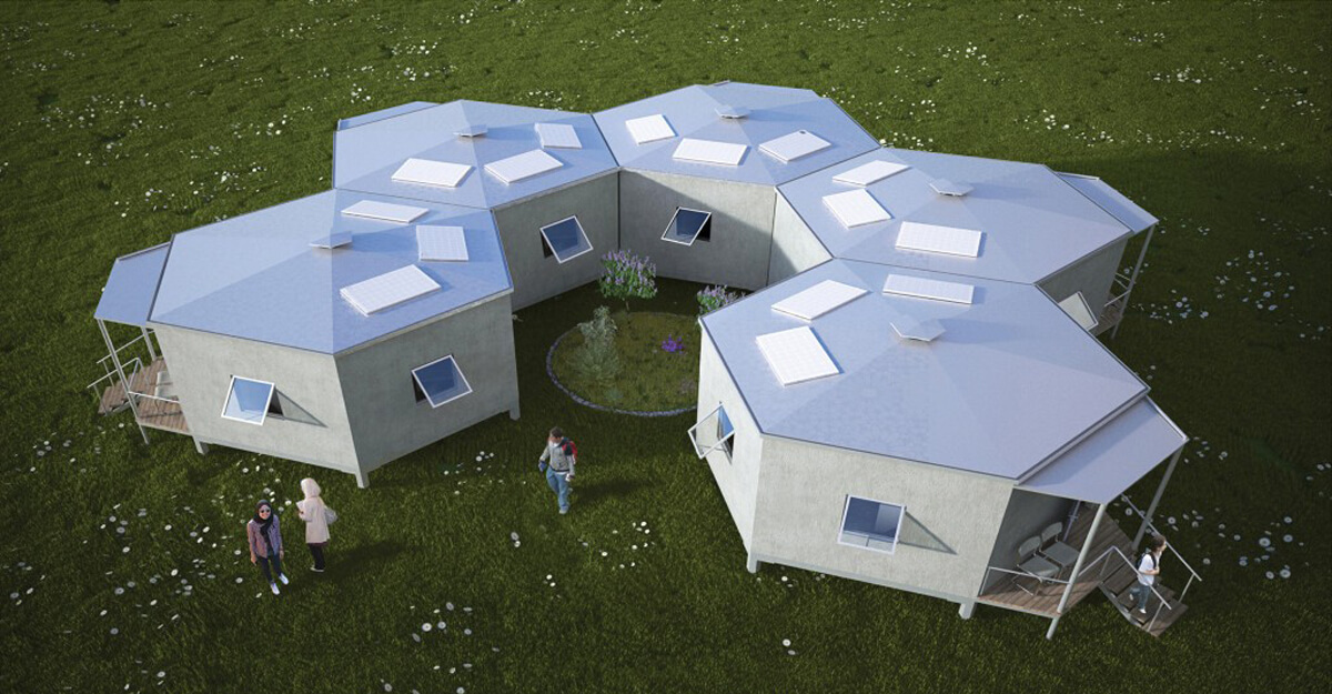 Шестиугольные дома для сирийских беженцев