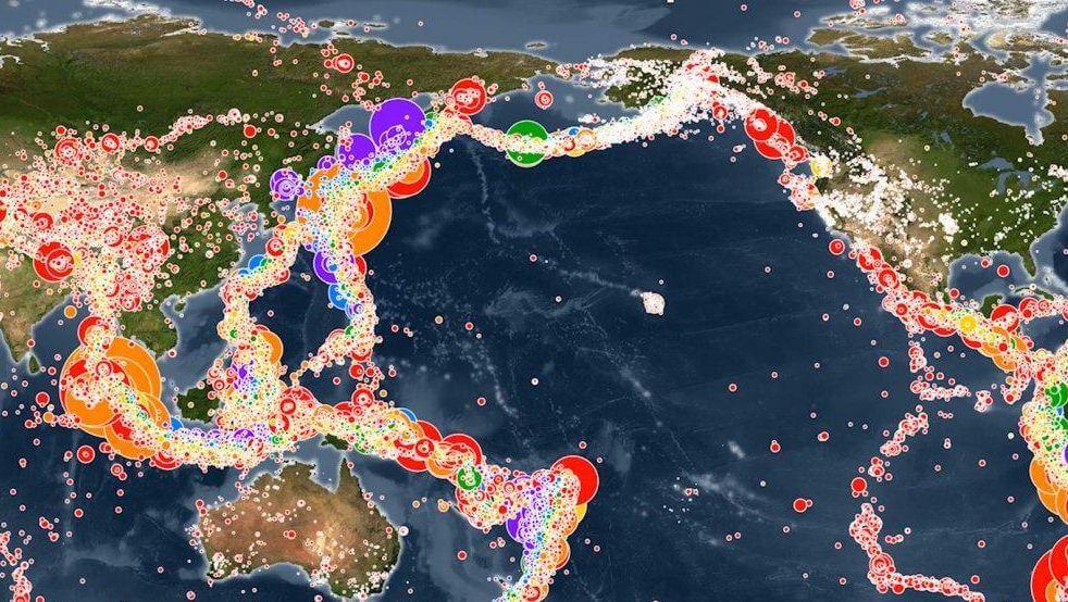 В сети появилась анимированная карта землетрясений