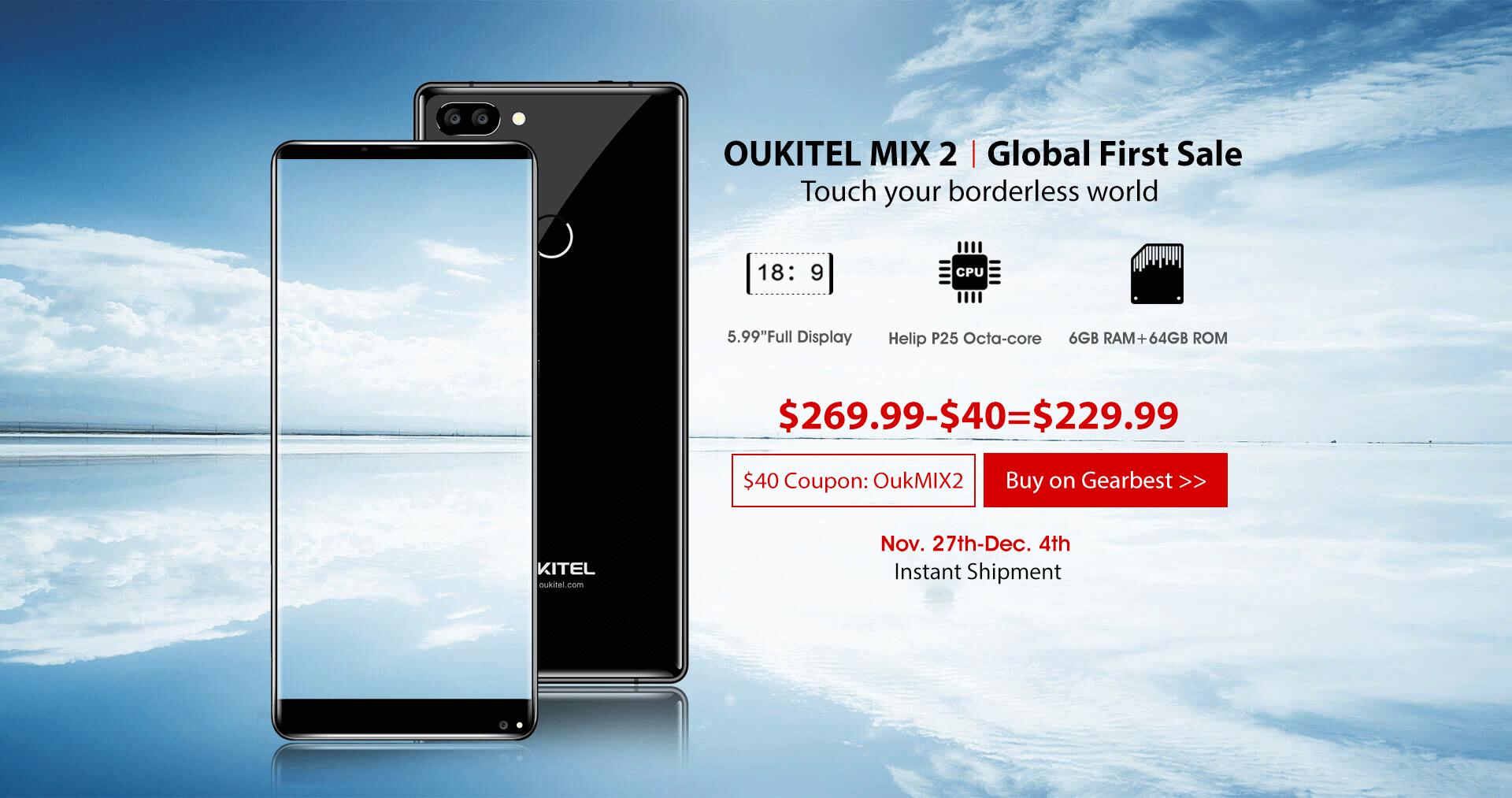 OUKITEL MIX 2 уже в продаже, купите его с большой скидкой!