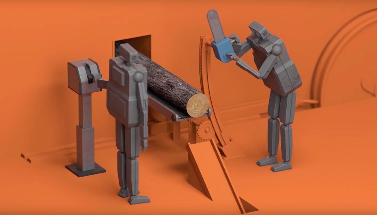 #видео дня   Грустный мультфильм о незавидной судьбе роботов-трудоголиков