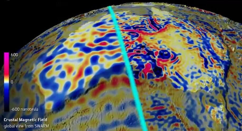 Ученые создали детальные динамические карты магнитного поля океанов и земной коры