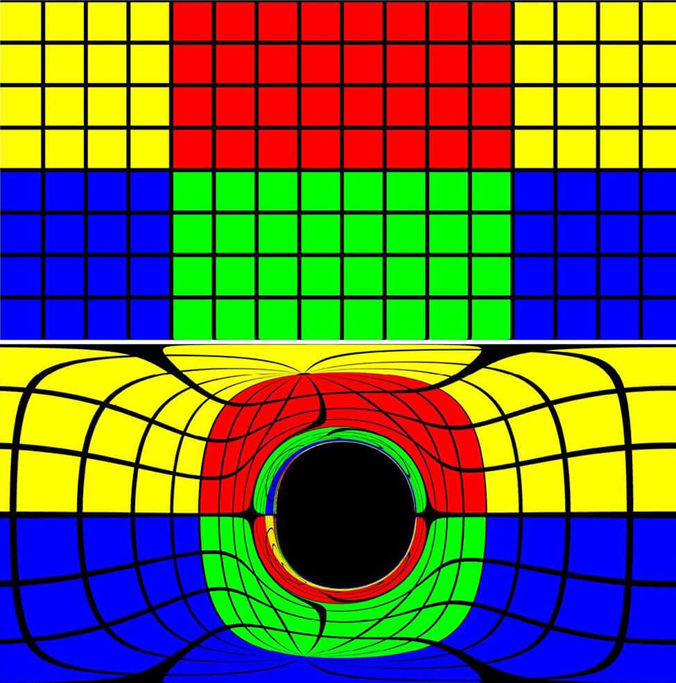 Искажение пространства вокруг черной дыры