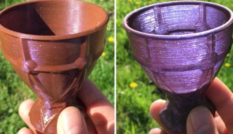 #видео | Напечатанный на 3D-принтере бокал меняет цвет в зависимости от ракурса