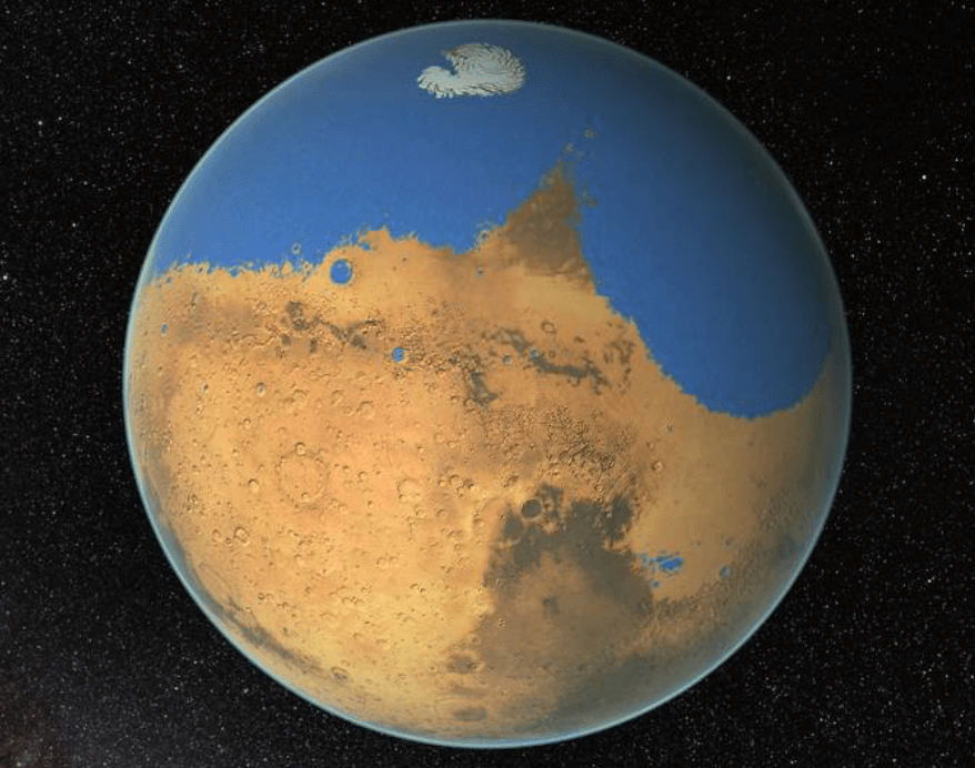 Удар астероида породил цунами разрушительной силы на Марсе
