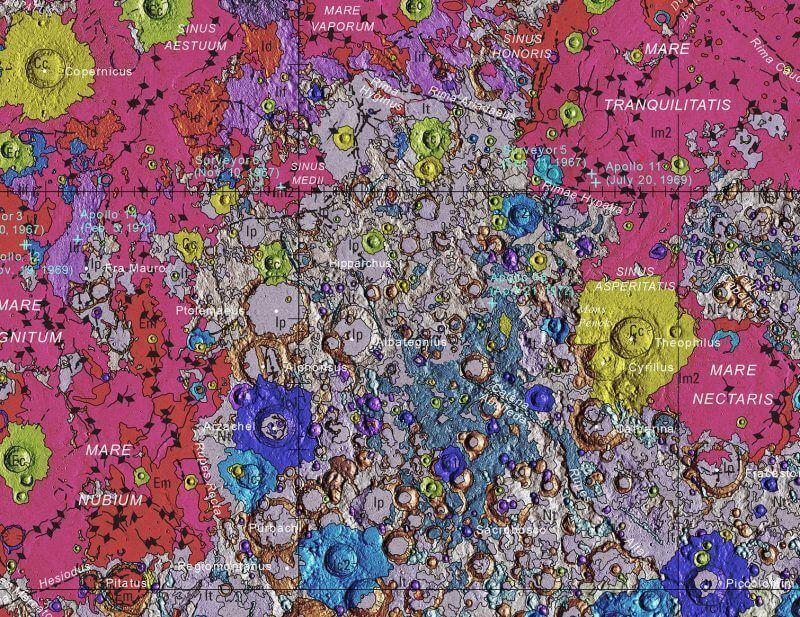 Создана первая геологическая карта Луны